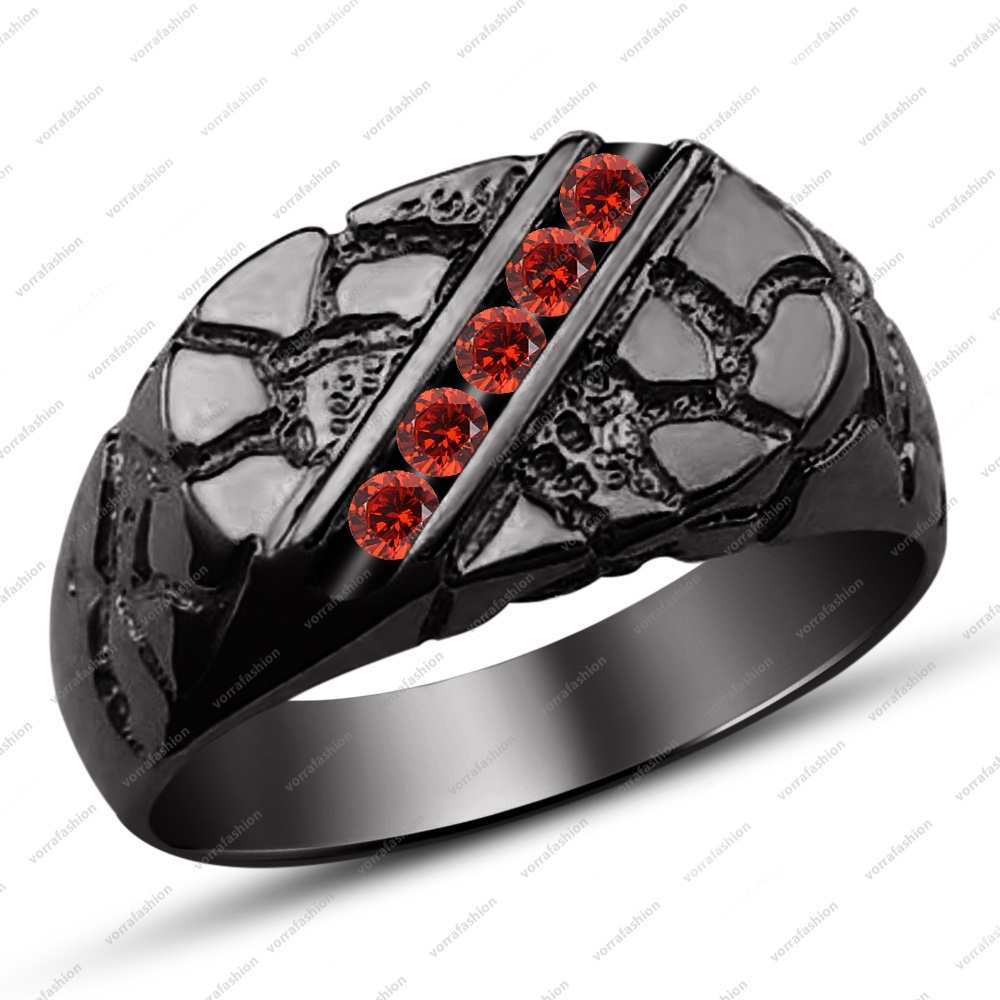 Sterling 925 Silver Black Gold High Polished Red Garnet Men's Wedding Band Ring