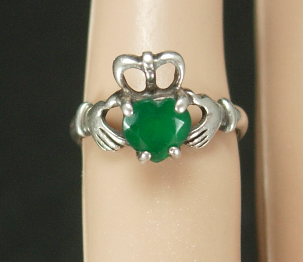 Primary image for Sterling IRISH Claddagh Ring Vintage Chrysoprase Ireland silver Celtic Heart Loy