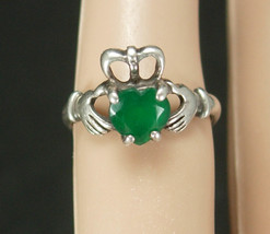 Sterling IRISH Claddagh Ring Vintage Chrysoprase Ireland silver Celtic H... - $95.00