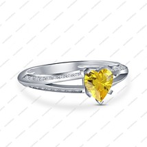 Heart Shaped Yellow Created Sapphire 924 Silver 14K White Fn Engagement ... - $49.00