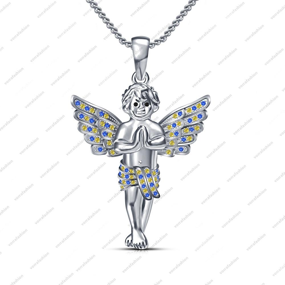 Women Fashion Jewelry Pendant in Sterling Silver Multi Stone Angel Boy Necklace