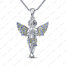 Women Fashion Jewelry Pendant in Sterling Silver Multi Stone Angel Boy N... - $72.99