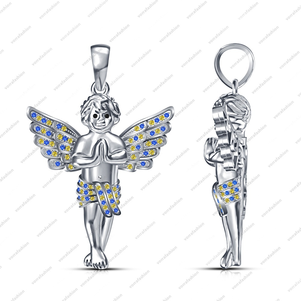 Women Fashion Jewelry Pendant in Sterling Silver Multi Stone Angel Boy Necklace image 2