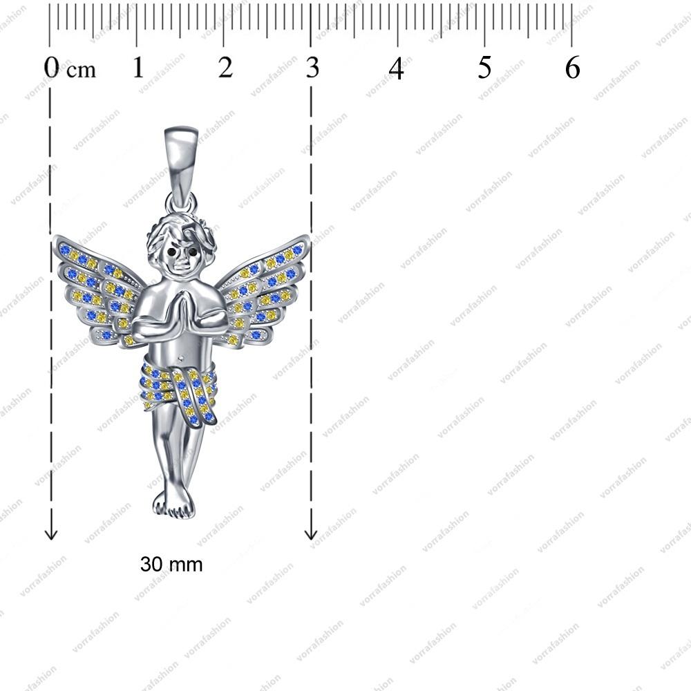 Women Fashion Jewelry Pendant in Sterling Silver Multi Stone Angel Boy Necklace image 3