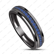 Fashion Engagement Ring Sz6-12 Blue Sapphire Full Black Gold Filled Band... - $96.48