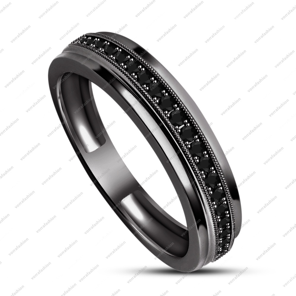 925 Sterling Silver Women Black Gold Filled Womens Wedding Engagement Band Ring