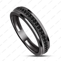 925 Sterling Silver Women Black Gold Filled Womens Wedding Engagement Ba... - $86.48