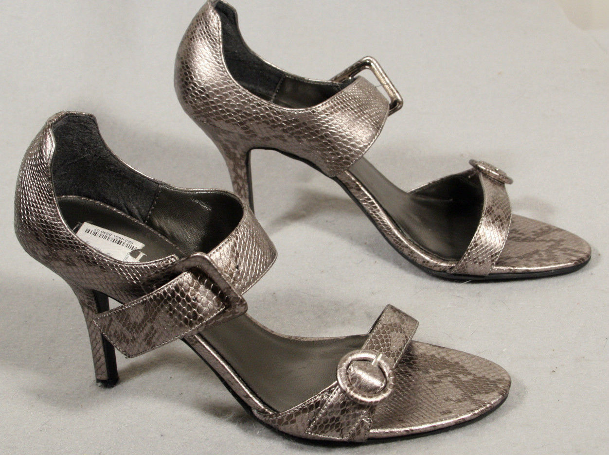 Primary image for MIX IT NEW SEXY HIGH HEELS SHINY EMBOSSED REPTILE METALLIC PEWTER SMOKIN HOT 7.5