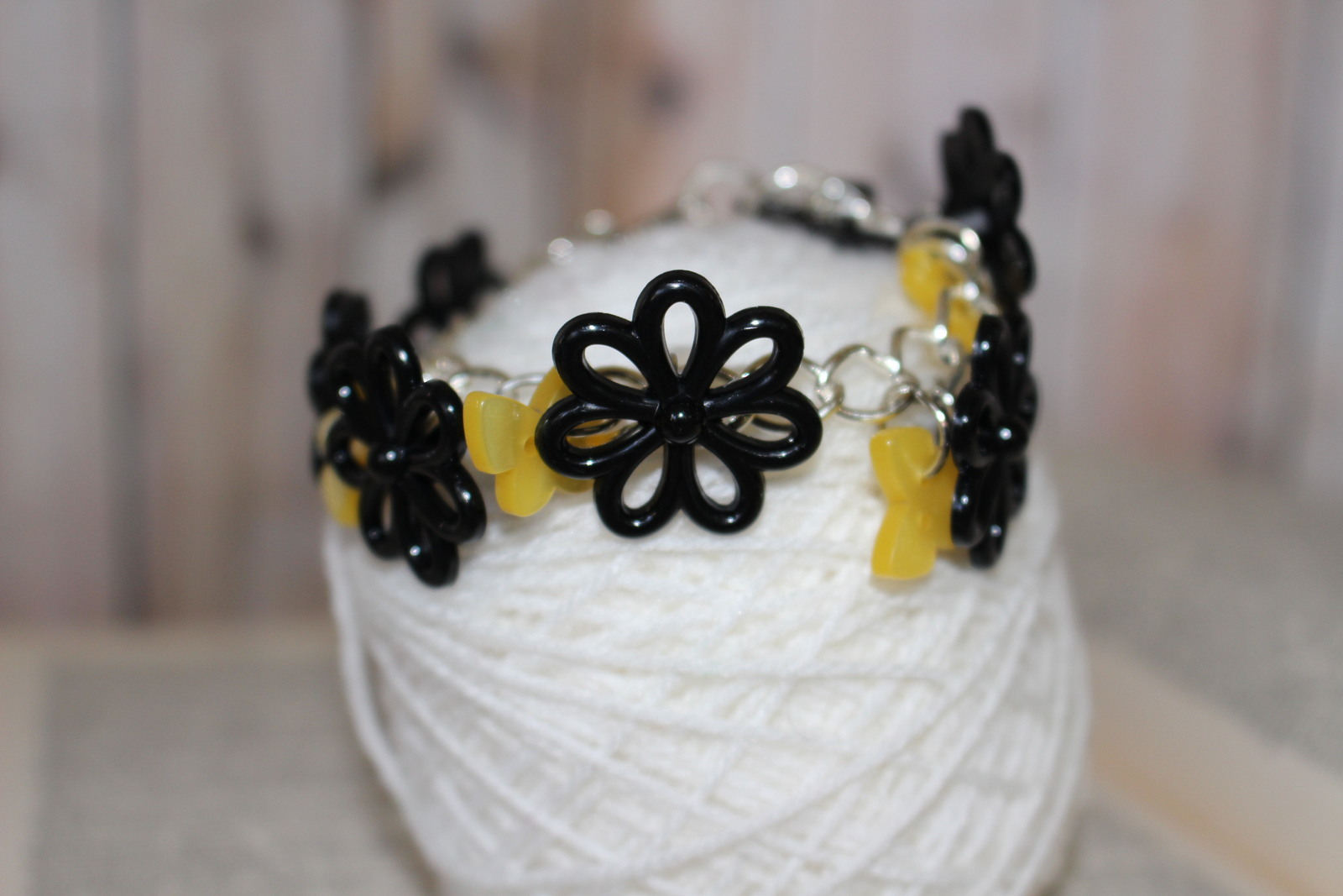 Sun Shine Yellow Daisies & Butterflies Button Bracelet Black, Silver, & Yellow