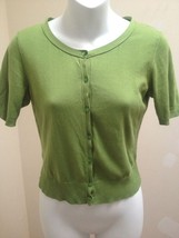 Ann Taylor Loft XSP Green Cardigan Sweater Pima Cotton Short Sleeve - $17.62