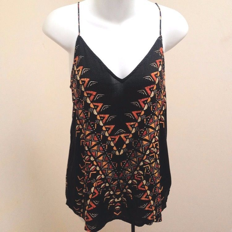 Primary image for Silence Noise M Top Multi Color Geometric Tribal Spaghetti Straps Lace Up Back