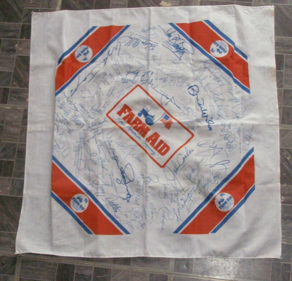 Primary image for Farm Aid Bandanna With Facsimile Factory Printed Autographs