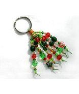 Green and Amber Beaded Key Chain OOAK - $5.50