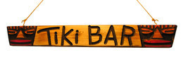 Original Carved Wood 2 Masked Tiki Head Bar Sign - Tribal Surf Shack Decor - ₨2,884.66 INR