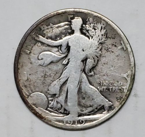 1919D Walking Liberty Half Dollar 90% Silver Coin Lot# E 132