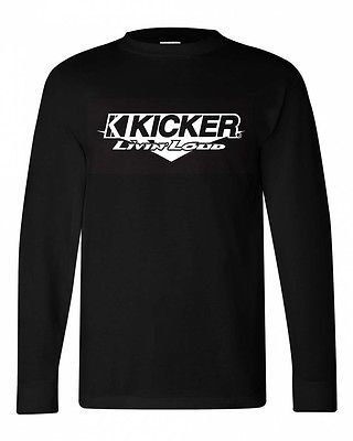 Kicker Long Sleeve T-shirt 100% cotton black graphic tee car stereo speaker