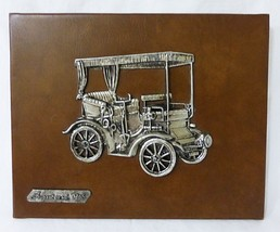 Vintage peugeot mod 1895 mounted pewter on leather wall decor plaque spain - $33.65