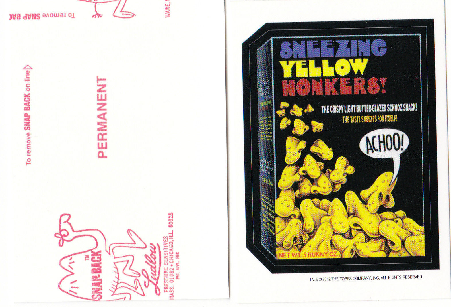 Primary image for 2012 WACKY PACKAGES OLD SCHOOL SERIES 4 **YELLOW HONKERS** RED LUDLOW BACK
