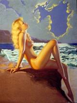 Earl Moran Pin-up Girl Poster 8.5 X 11 Sun Bathing Blonde by Sea Pinup A... - $11.64