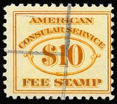 RK21, RARE Used $10 Consular Service Stamp Cat $65.00 - Stuart Katz - $40.00