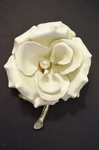 Large White Enamel Metal Rose on Branch Center Pearl Brooch Pin - $79.95