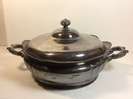 Toronto Silver Plate Co Engraved Serving pot bowllid handles hard white metal - $44.55