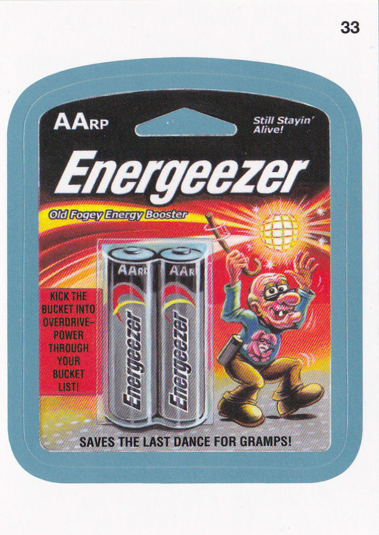 2013 WACKY PACKAGES ANS11 BLUE BORDER CARD **ENERGEEZER** #33 NEW SERIES