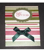 Red White Green striped Gift Card Holder birthday thank you handmade  - $2.50