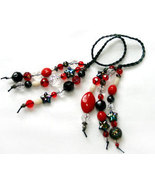 Red and Black Beaded Bookmark OOAK - $6.50