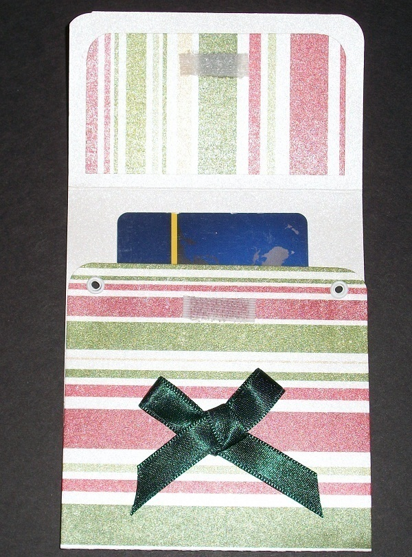 Red White Green striped Gift Card Holder birthday thank you handmade