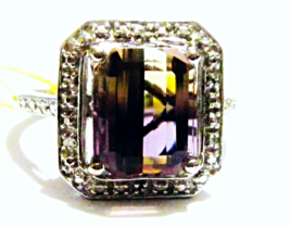 Ametrine Octagon Solitaire & Diamond Ring, Platinum / Silver, Size 8, 4.... - $85.50