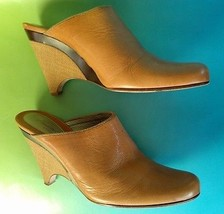 KENETH COLE ITALY Women's Shoes Tan Leather Slip On Mules Wedge Sz 10M S... - $34.83