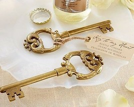 "50 Gold ""Key to My Heart"" Vintage Bottle Openers Wedding Favor Bridal Sh... - $90.07"