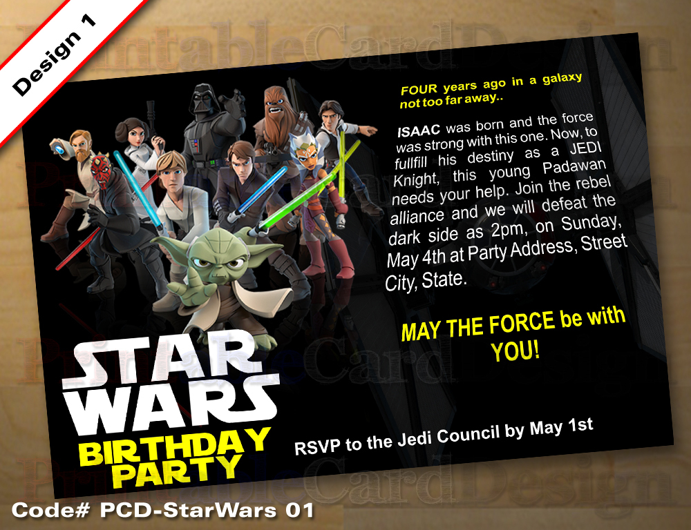 Star Wars Theme Birthday Party Invitation 01 And 17 Similar Items Starwars01