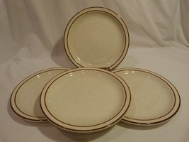 Buffalo China USA Dinner Plates Speckled with Brown Bands Lot of 4 - $9.98