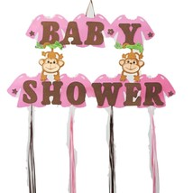 "Baby Girl Shower Hanging Foam Pink Decoration baby monkeys 22"" tall 30"" ... - $21.77"