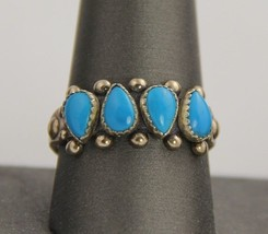 STERLING SILVER SOUTHWEST TURQUOISE NAVAJO NEEDLEPOINT RING SZ 10 - 4.6 ... - €80,48 EUR