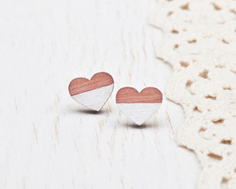 Heart Earrings Pink Stud Earrings Wooden Ear Posts Tiny Jewelry Womens G... - $12.00