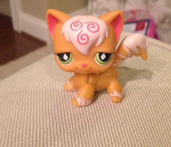 Littlest Pet Shop LPS Orange Pink ANGORA CAT #511 Green Diamond Eyes ...