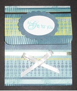 Ocean Blue Green patterened Gift Card Holder birthday thank you handmade  - $2.50