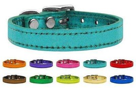 Plain Metallic Genuine Leather Dog Collar * Lat... - $13.85 - $18.80