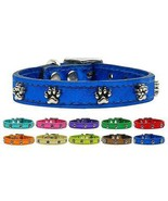 Metallic Paws Genuine Leather Dog Collar * Latigo Puppy Love Paw Print P... - $15.83+