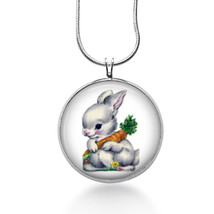 Easter Bunny with Carrots Necklace - Easter Jewelry - Handmade - Art Pen... - $18.32