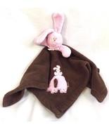 Blankets & Beyond Pink Brown Bunny Security Blanket Lovey Nunu - $28.04