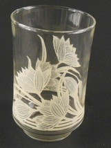 Libbey Juice Glass Clear with Light Beige Flowers Floral Vintage Replacement - $3.46