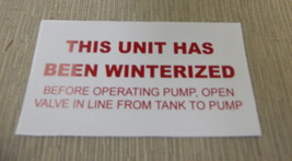 """RV Safety Decal """"This Unit Has Been Winterized"""" TL5002 UPC:710534474061 - $6.44"""