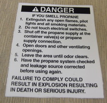 """RV Safety Decal """"Danger If You Smell Propane"""" UPC:710534473866 - $7.43"""