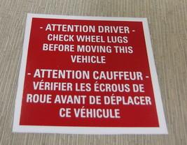 "RV Safety Decal ""Attention Driver Check Wheel Lug""  Bi-Lingual  UPC:7105... - $7.43"