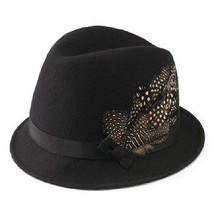 San Diego Hat Co. BLACK Felt Fedora Feather Hat Wool NEW $78 - $27.99
