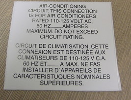 """RV Safety Decal """"Air Conditioning Circuit """" Bi Lingual UPC:710534474214 - $8.42"""